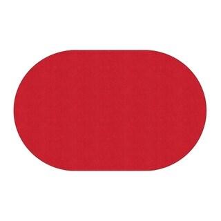 "Flagship Carpet Amerisoft School Classroom Oval Rug, Rowdy Red - 7'6"" x 12' - 7'6"" x 12'"