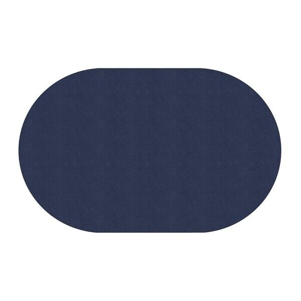 "Flagship Carpet Amerisoft School Classroom Oval Rug, Navy - 7'6"" x 12' - 7'6"" x 12'"