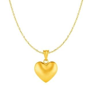 Puffed Heart Pendant In 10k Yellow Gold