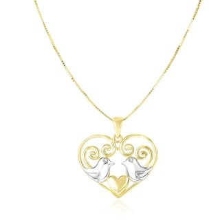 14k Two Tone Gold Filigree Heart With Doves Pendant