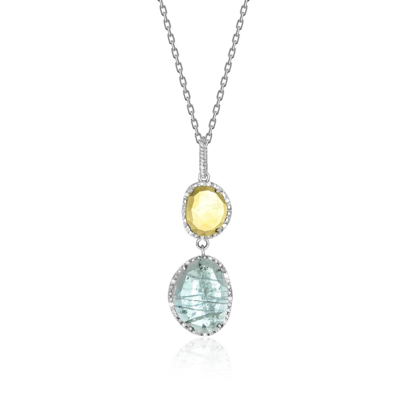 Sterling Silver Blue Topaz /& Citrine Diamond Pendant