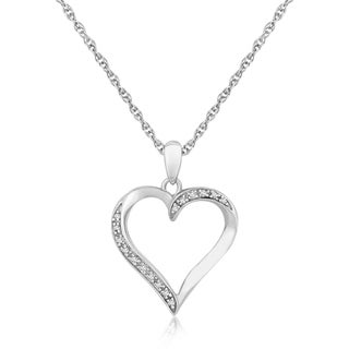 Sterling Silver Twisted Open Heart Diamond Accented Pendant 04 Cttw