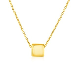 14k Yellow Gold With Shiny Square Pendant