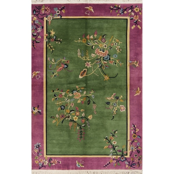Shop Art Deco Floral Transitional Handmade Wool Chinese