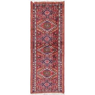 """Gharajeh Geometric Handmade Wool Persian Oriental Rug - 6'2"""" x 2'2"""" Runner"""