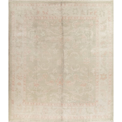 "Oushak All-Over Floral Handmade Wool Turkish Oriental Area Rug - 10'8"" x 9'1"""