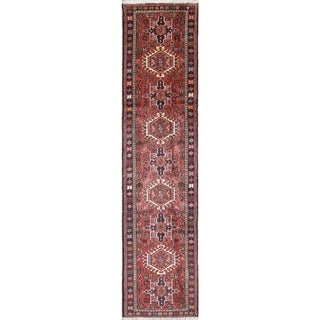 """Gharajeh Geometric Handmade Wool Persian Oriental Rug - 9'6"""" x 2'3"""" Runner"""
