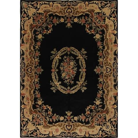 "Nepal Tibetan Floral Transitional Handmade Wool Indian Area Rug - 13'9"" x 10'1"""