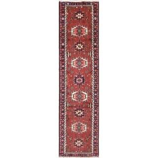 """Gharajeh Geometric Handmade Wool Persian Oriental Rug - 9'2"""" x 2'4"""" Runner"""