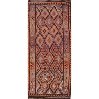 "Oriental Kilim Qashqai Tribal Geometric Hand-Woven Wool Persian Rug - 9'10"" x 4'5"" Runner"