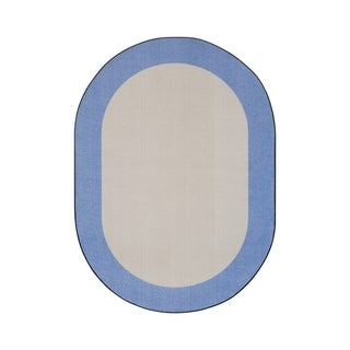 "Joy Carpets Easy Going Nylon School Classroom Oval Rug, Light Blue - 5'4"" x 7'8"" - 5'4"" x 7'8"" Oval"