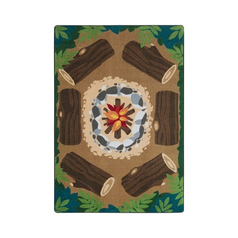 "Joy Carpets Campfire Fun Nylon School Classroom Rectangular Rug, Multi Color - 5'4"" x 7'8"" - N/A"