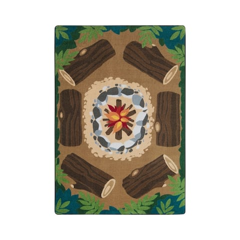 "Joy Carpets Campfire Fun Nylon School Classroom Rectangular Rug, Multi Color - 5'4"" x 7'8"" - 5'4"" x 7'8"""