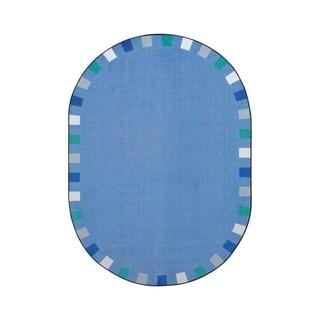 "Joy Carpets On the Border Nylon School Classroom Oval Rug, Soft - 7'8"" x 10'9"" - 7'8"" x 10'9"" Oval"