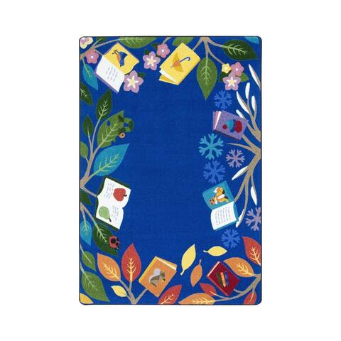 "Joy Carpets Books for All Seasons Nylon School Classroom Rectangular Rug, Multi Color - 7'8"" x 10'9"" - 7'8"" x 10'9"""