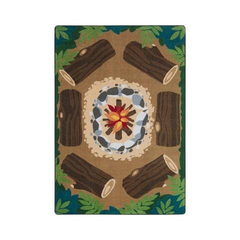 Joy Carpets Campfire Fun Multicolored Nylon Rectangular Rug - 7'8 x 10'9