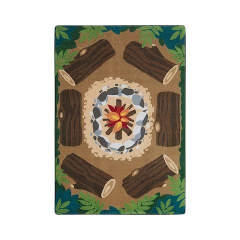 "Joy Carpets Campfire Fun Nylon School Classroom Rectangular Rug, Multi Color - 7'8"" x 10'9"" - 7'8"" x 10'9"""