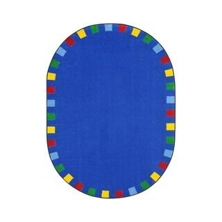 "Joy Carpets On the Border Nylon School Classroom Oval Rug, Bright - 7'8"" x 10'9"" - 7'8"" x 10'9"" Oval"