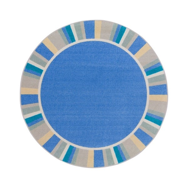 "Joy Carpets 5'4"" Round Off the Cuff Nylon School Classroom Rug - Light Blue - 5'4"" Round"