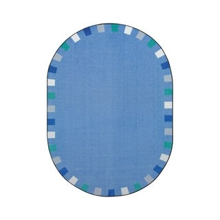 "Joy Carpets On the Border Nylon School Classroom Oval Rug, Soft - 5'4"" x 7'8"" - 5'4"" x 7'8"" Oval"