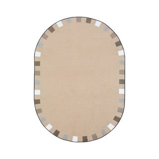 "Joy Carpets On the Border Nylon School Classroom Oval Rug, Neutral - 7'8"" x 10'9"" - 7'8"" x 10'9"" Oval"