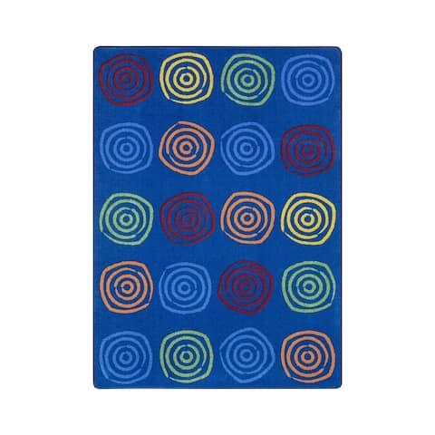 "Joy Carpets Simply Swirls Nylon School Classroom Rectangular Rug, Rainbow - 5'4"" x 7'8"" - 5'4"" x 7'8"""