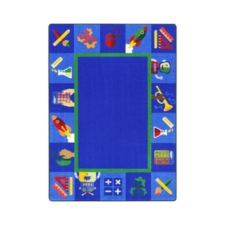 "Joy Carpets Full Steam Ahead Nylon School Classroom Rectangular Rug, Multi Color - 5'4"" x 7'8"" - 5'4"" x 7'8"""