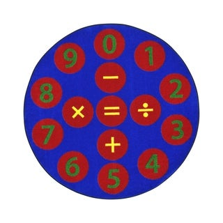 """Joy Carpets 5'4"""" Round Number Jumpers Nylon School Classroom Rug - Multi Color - 5'4"""" Round"""