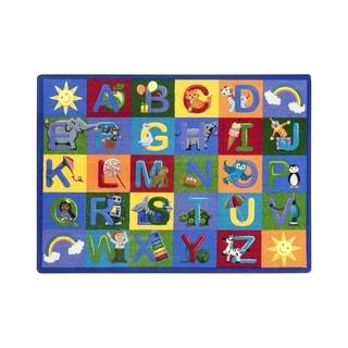 "Joy Carpets Learning Letter Sounds Nylon School Classroom Rectangular Rug, Multi Color - 5'4"" x 7'8"" - 5'4"" x 7'8"""