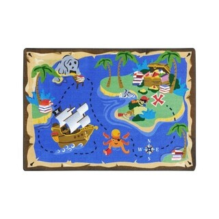 "Joy Carpets Books Are Treasures Nylon School Classroom Rectangular Rug, Multi Color - 5'4"" x 7'8"" - 5'4"" x 7'8"""