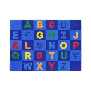 "Joy Carpets Patchwork Letters Nylon School Classroom Rectangular Rug, Multi Color - 5'4"" x 7'8"" - 5'4"" x 7'8"""
