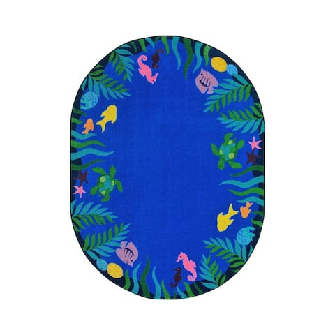 "Joy Carpets Soothing Seas Nylon School Classroom Oval Rug, Multi Color - 7'8"" x 10'9"" - 7'8"" x 10'9"" Oval"