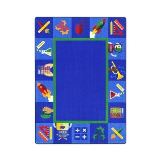 "Joy Carpets Full Steam Ahead Nylon School Classroom Rectangular Rug, Multi Color - 10'9"" x 13'2"" - 10'9"" x 13'2"""