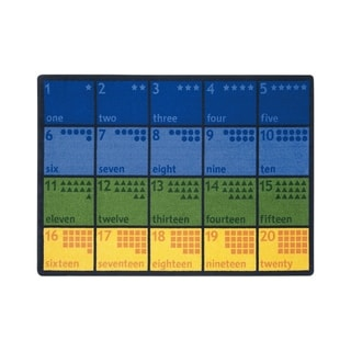 "Joy Carpets Count with Me Nylon School Classroom Rectangular Rug, Multi Color - 5'4"" x 7'8"" - 5'4"" x 7'8"""