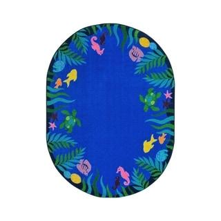 "Joy Carpets Soothing Seas Nylon School Classroom Oval Rug, Multi Color - 10'9"" x 13'2"" - 10'9"" x 13'2"" Oval"