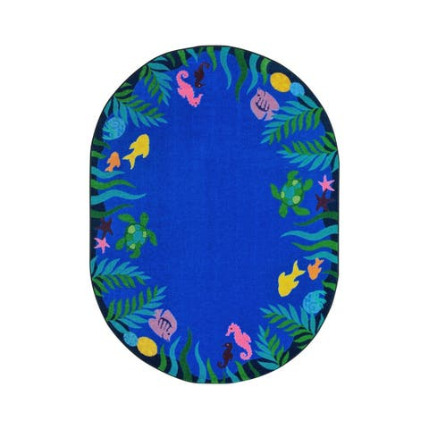 "Joy Carpets Soothing Seas Nylon School Classroom Oval Rug, Multi Color - 10'9"" x 13'2"" - 10'9"" x 13'2"" Oval"