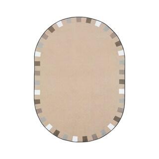 "Joy Carpets On the Border Nylon School Classroom Oval Rug, Neutral - 5'4"" x 7'8"" - 5'4"" x 7'8"" Oval"