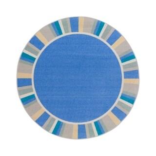 "Joy Carpets 7'7"" Round Off the Cuff Nylon School Classroom Rug - Light Blue - 7'7"" Round"