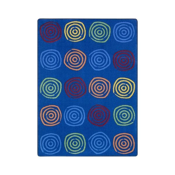 "Joy Carpets Simply Swirls Nylon School Classroom Rectangular Rug, Rainbow - 10'9"" x 13'2"" - 10'9"" x 13'2"""