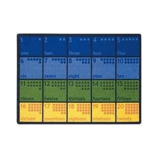 "Joy Carpets Count with Me Nylon School Classroom Rectangular Rug, Multi Color - 7'8"" x 10'9"" - 7'8"" x 10'9"""