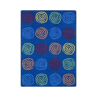 "Joy Carpets Simply Swirls Nylon School Classroom Rectangular Rug, Rainbow - 7'8"" x 10'9"" - 7'8"" x 10'9"""