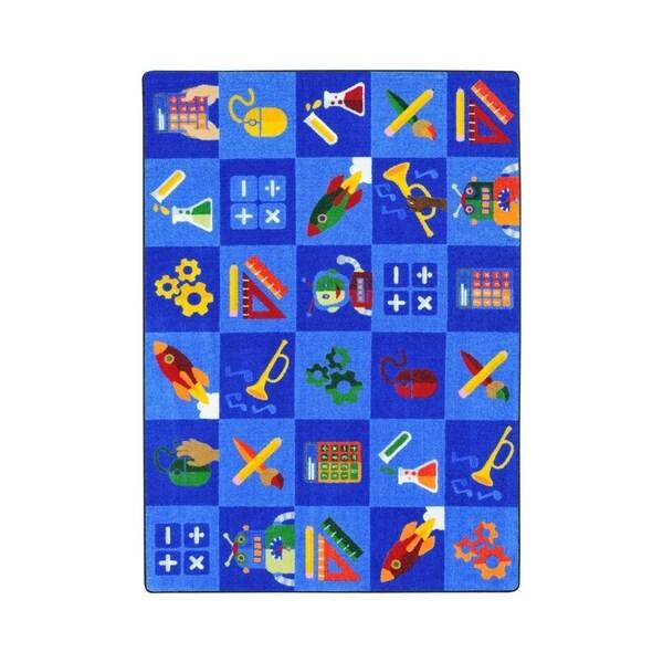 "Joy Carpets Steam into Learning Nylon School Classroom Rectangular Rug, Multi Color - 5'4"" x 7'8"" - 5'4"" x 7'8"""