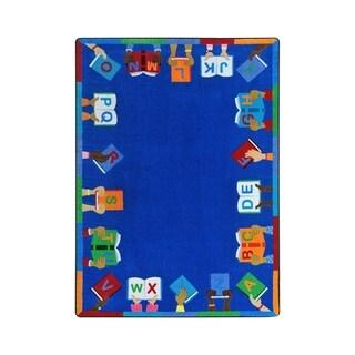 "Joy Carpets Books Are Handy Nylon School Classroom Rectangular Rug, Multi Color - 5'4"" x 7'8"" - 5'4"" x 7'8"""