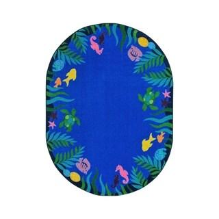 "Joy Carpets Soothing Seas Nylon School Classroom Oval Rug, Multi Color - 5'4"" x 7'8"" - 5'4"" x 7'8"" Oval"