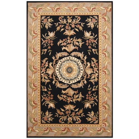 Handmade One-of-a-Kind Aubusson Wool Rug (India) - 5' x 8'