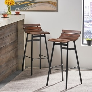 """Link to Pepperwood 35"""" Wooden Barstool (Set of 2) by Christopher Knight Home Similar Items in Dining Room & Bar Furniture"""