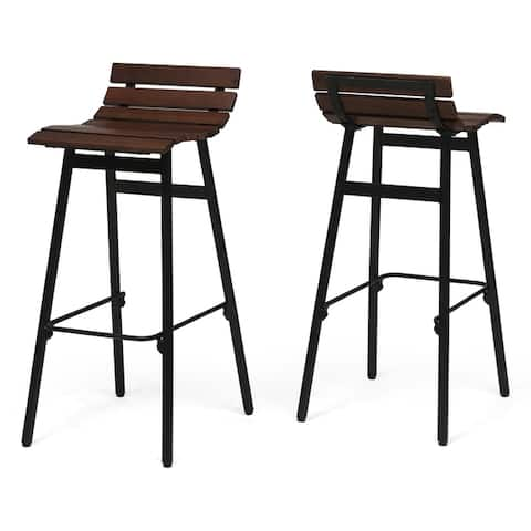 "Pepperwood 35"" Wooden Barstool (Set of 2) by Christopher Knight Home"