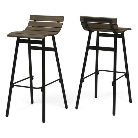"""Pepperwood 35"""" Wooden Barstool (Set of 2) by Christopher Knight Home"""