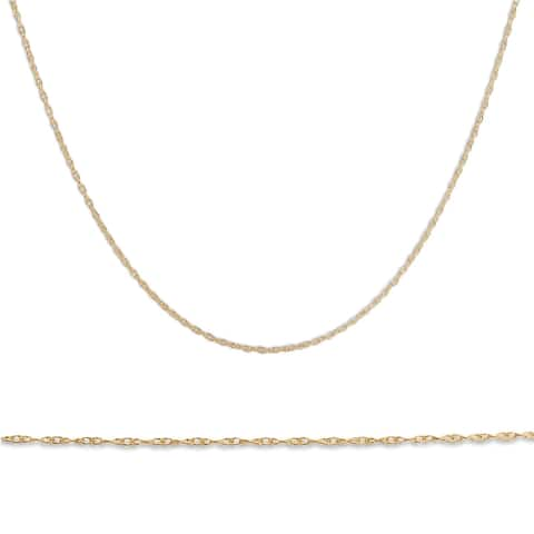 """Pompeii3 10k Yellow Gold 18"""" Chain Solid Spring Ring Dainty Womens Necklace"""