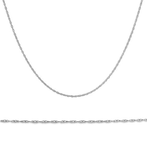 """Pompeii3 14k White Gold 18"""" Chain Solid Spring Ring Dainty Womens Necklace"""